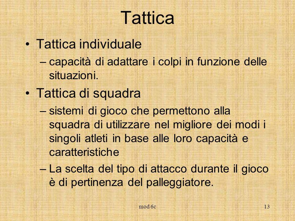 mod 6c13 Tattica Tattica individuale –capacità di adattare i colpi in funzione delle situazioni. Tattica di squadra –sistemi di gioco che permettono a