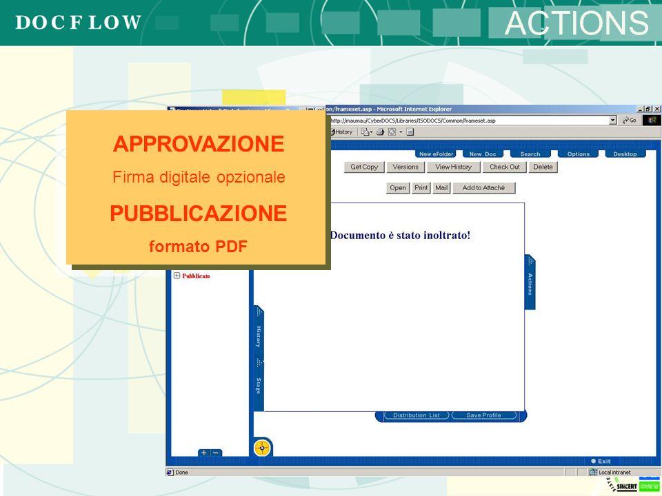 ACTIONS APPROVAZIONE Firma digitale opzionale PUBBLICAZIONE formato PDF