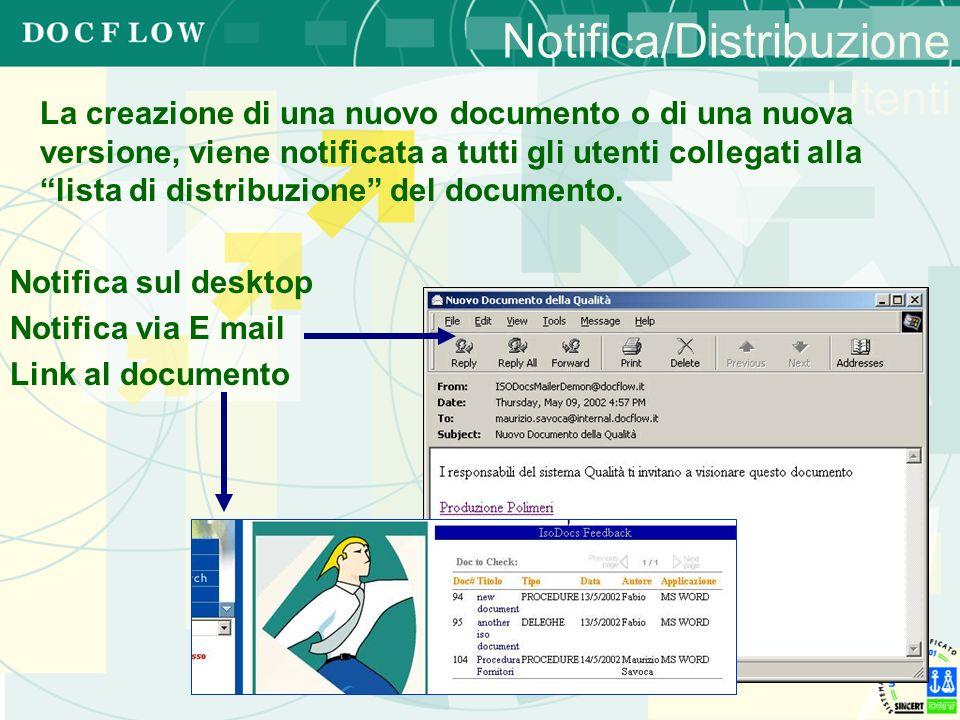 Notifica/Distribuzione Utenti La creazione di una nuovo documento o di una nuova versione, viene notificata a tutti gli utenti collegati alla lista di
