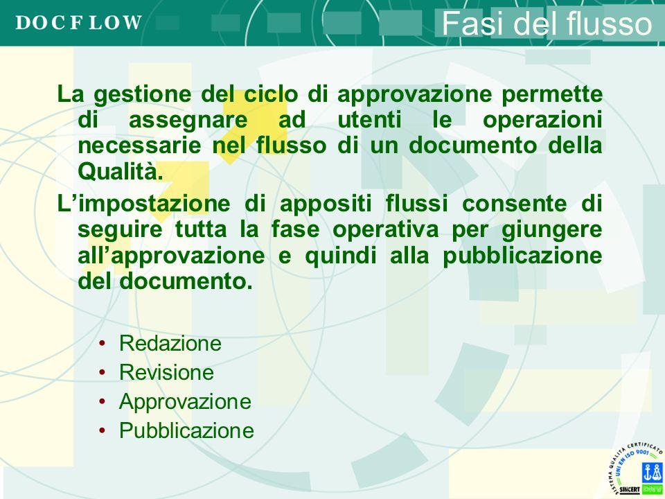 Fasi del flusso La gestione del ciclo di approvazione permette di assegnare ad utenti le operazioni necessarie nel flusso di un documento della Qualit
