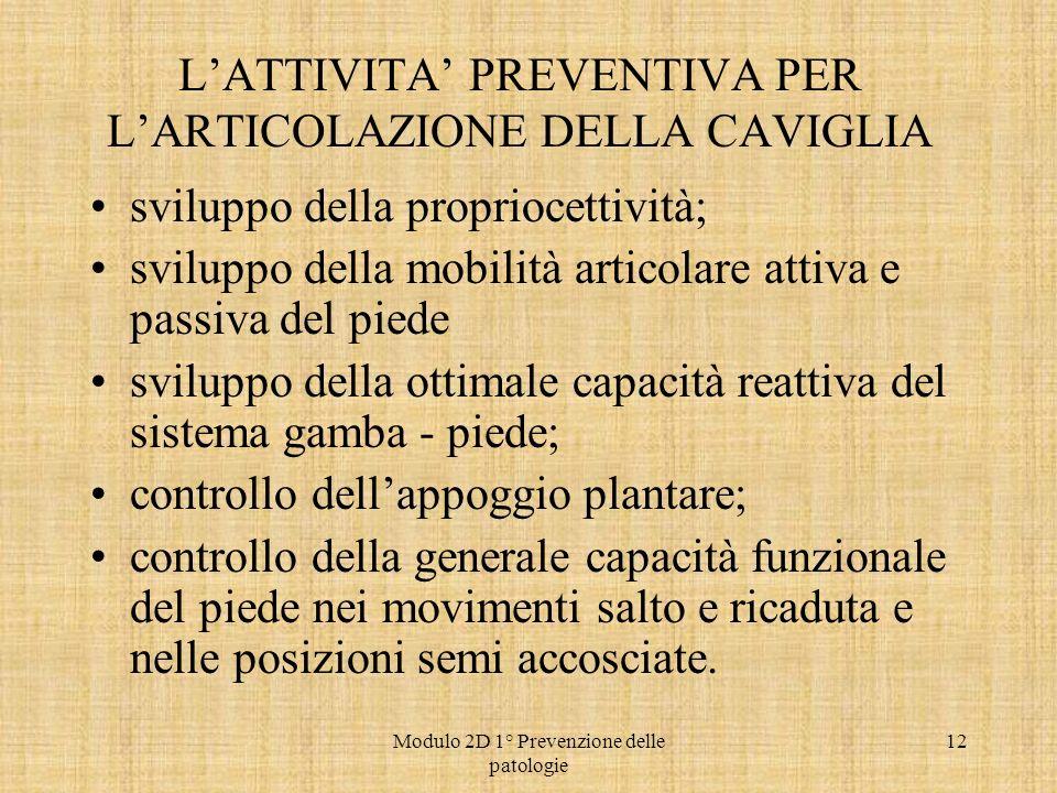 Modulo 2D 1° Prevenzione delle patologie 12 LATTIVITA PREVENTIVA PER LARTICOLAZIONE DELLA CAVIGLIA sviluppo della propriocettività; sviluppo della mob
