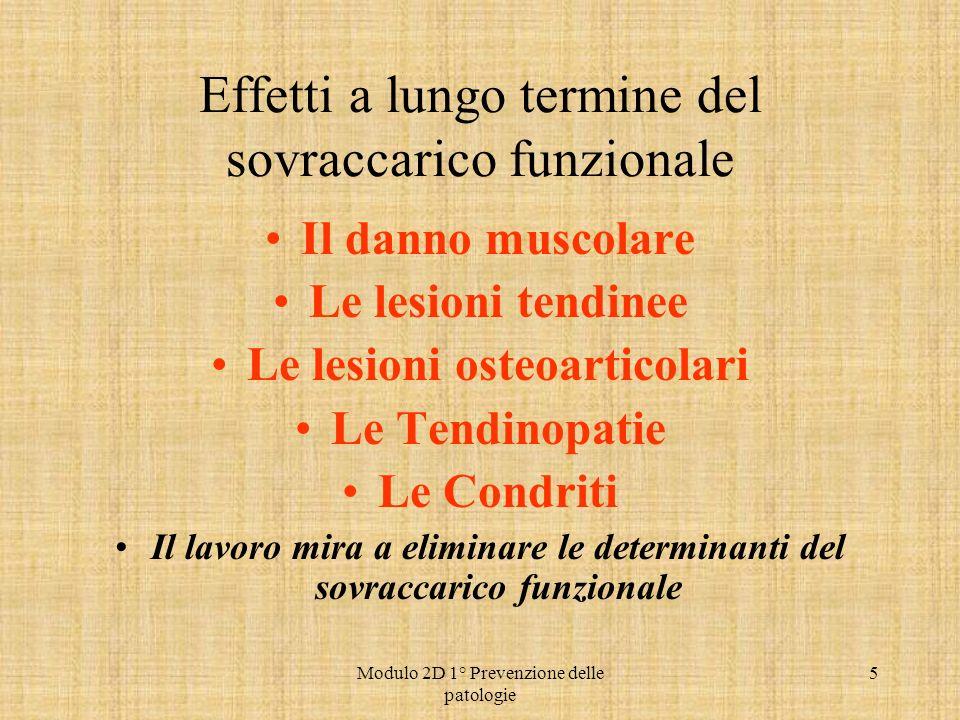 Modulo 2D 1° Prevenzione delle patologie 5 Effetti a lungo termine del sovraccarico funzionale Il danno muscolare Le lesioni tendinee Le lesioni osteo