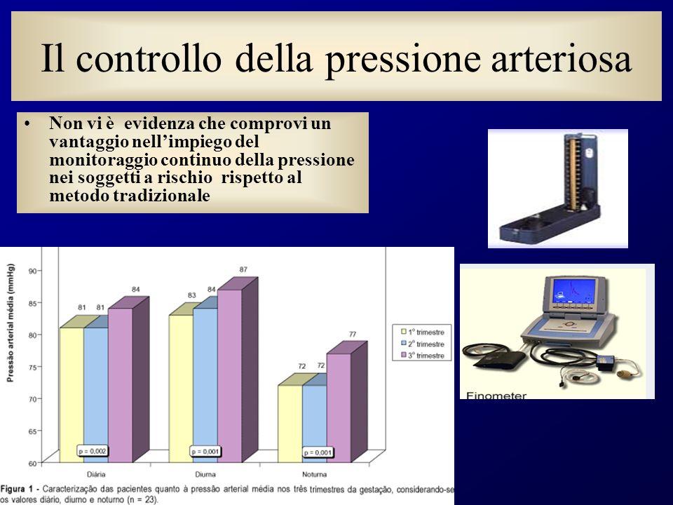 Il controllo della pressione arteriosa Non vi è evidenza che comprovi un vantaggio nellimpiego del monitoraggio continuo della pressione nei soggetti a rischio rispetto al metodo tradizionale
