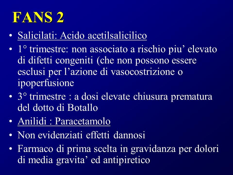 FANS 2 Salicilati: Acido acetilsalicilico 1° trimestre: non associato a rischio piu elevato di difetti congeniti (che non possono essere esclusi per l