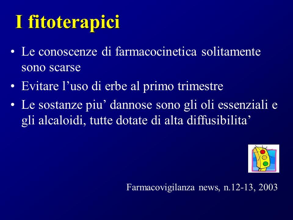 I fitoterapici Le conoscenze di farmacocinetica solitamente sono scarse Evitare luso di erbe al primo trimestre Le sostanze piu dannose sono gli oli e