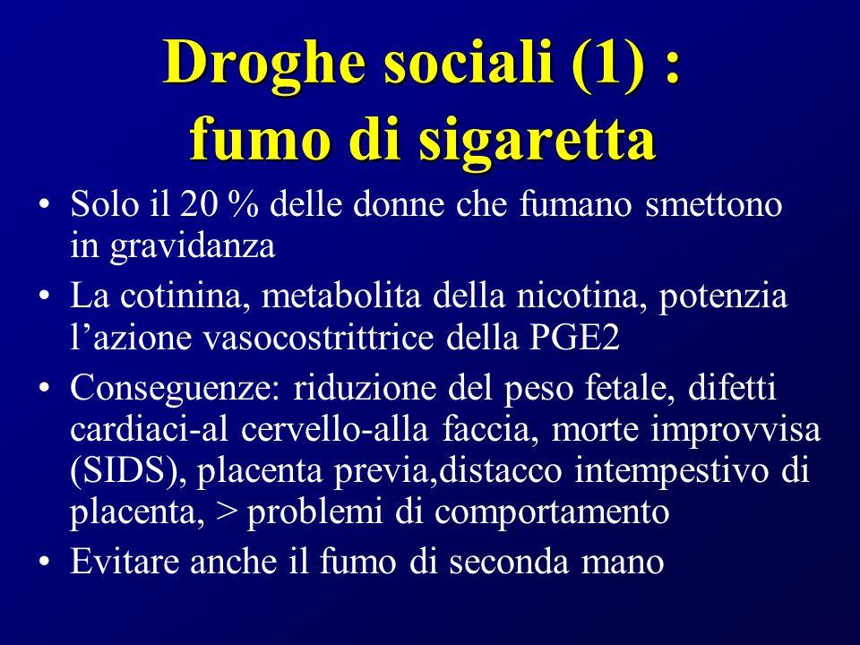 Droghe sociali (1) : fumo di sigaretta Solo il 20 % delle donne che fumano smettono in gravidanza La cotinina, metabolita della nicotina, potenzia laz