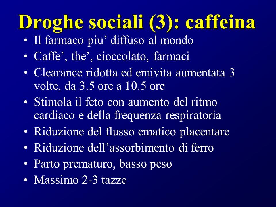 Droghe sociali (3): caffeina Il farmaco piu diffuso al mondo Caffe, the, cioccolato, farmaci Clearance ridotta ed emivita aumentata 3 volte, da 3.5 or