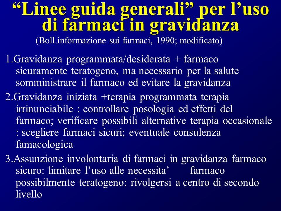 Linee guida generali per luso di farmaci in gravidanza 1.Gravidanza programmata/desiderata + farmaco sicuramente teratogeno, ma necessario per la salu