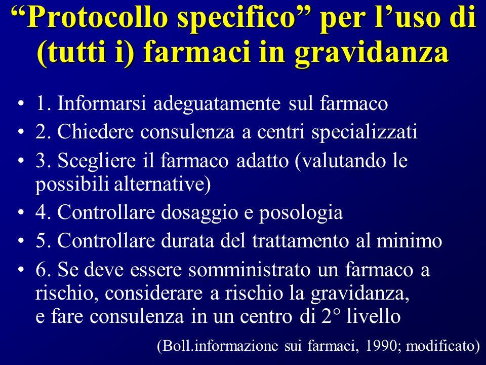 Protocollo specifico per luso di (tutti i) farmaci in gravidanza 1.