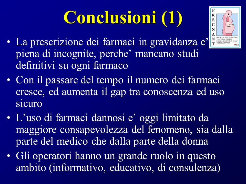 Conclusioni (1) La prescrizione dei farmaci in gravidanza e piena di incognite, perche mancano studi definitivi su ogni farmaco Con il passare del tem