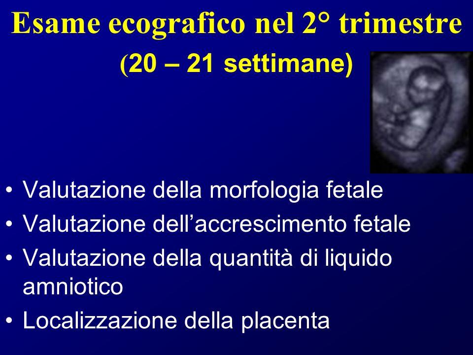 Esame ecografico nel 2° trimestre ( 20 – 21 settimane) Valutazione della morfologia fetale Valutazione dellaccrescimento fetale Valutazione della quantità di liquido amniotico Localizzazione della placenta