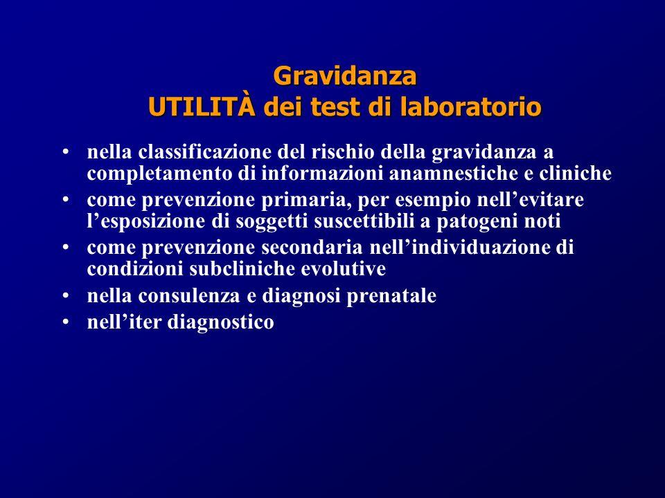 nella classificazione del rischio della gravidanza a completamento di informazioni anamnestiche e cliniche come prevenzione primaria, per esempio nell