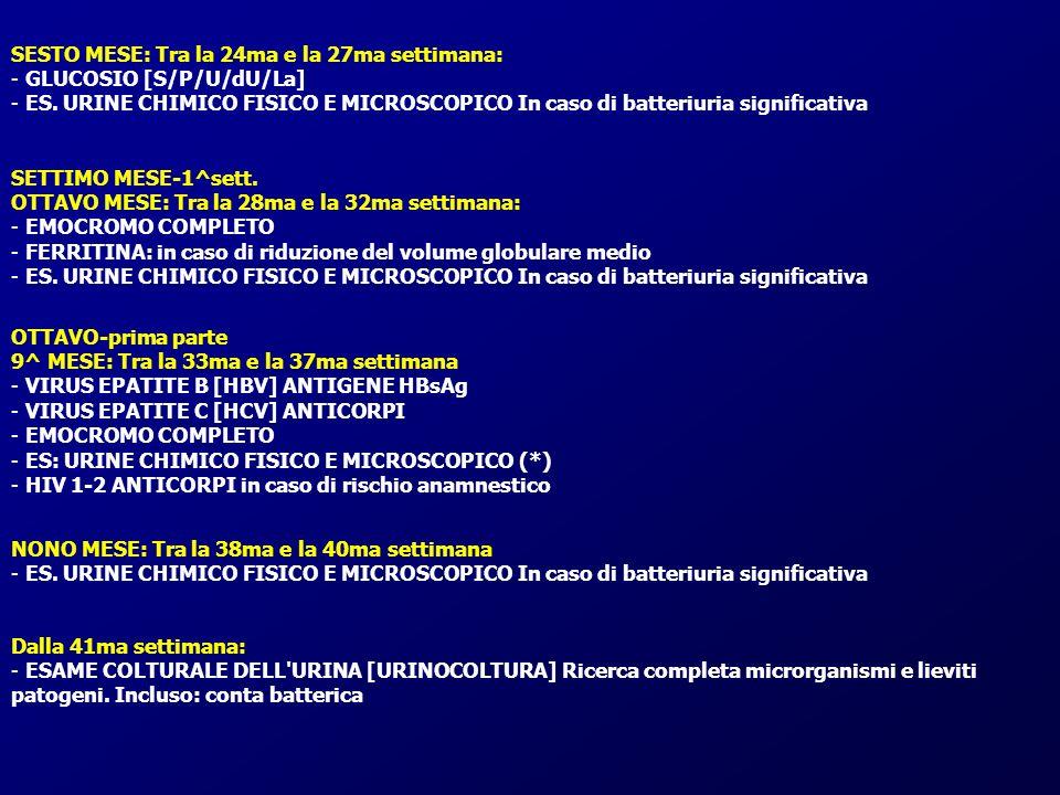 SESTO MESE: Tra la 24ma e la 27ma settimana: - GLUCOSIO [S/P/U/dU/La] - ES. URINE CHIMICO FISICO E MICROSCOPICO In caso di batteriuria significativa S
