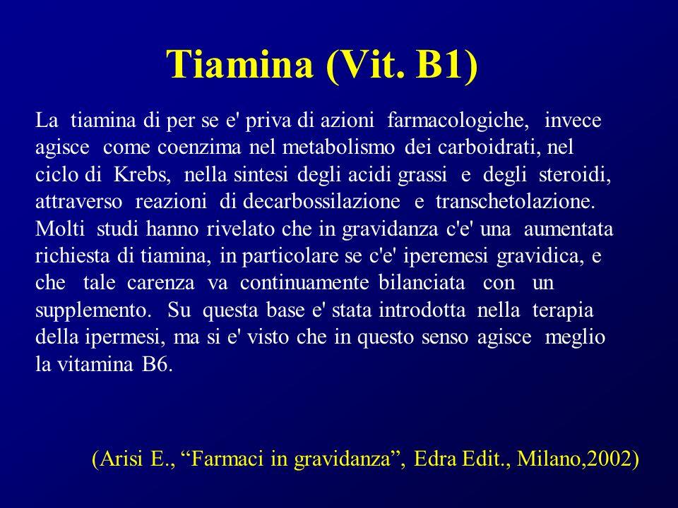 Tiamina (Vit. B1) La tiamina di per se e' priva di azioni farmacologiche, invece agisce come coenzima nel metabolismo dei carboidrati, nel ciclo di Kr
