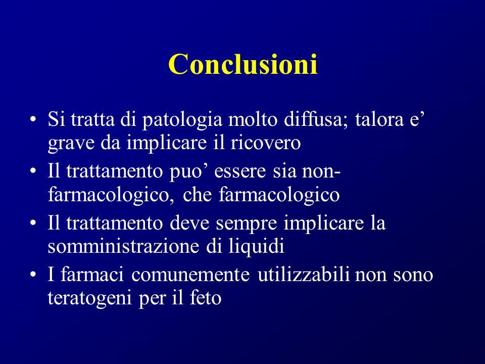 Conclusioni Si tratta di patologia molto diffusa; talora e grave da implicare il ricovero Il trattamento puo essere sia non- farmacologico, che farmac