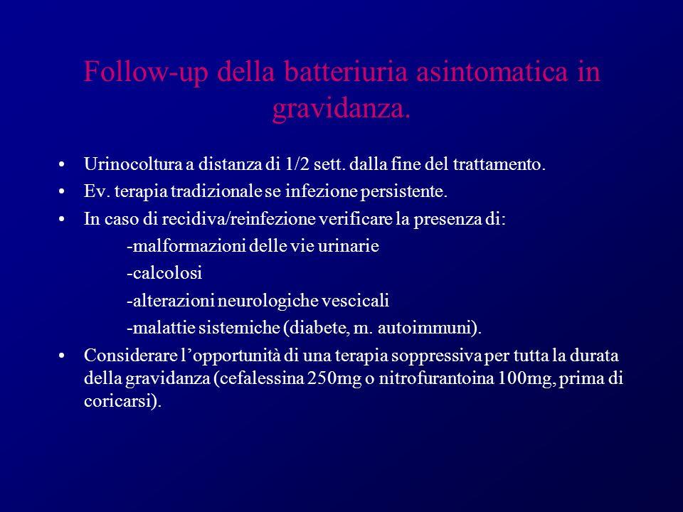 Follow-up della batteriuria asintomatica in gravidanza. Urinocoltura a distanza di 1/2 sett. dalla fine del trattamento. Ev. terapia tradizionale se i