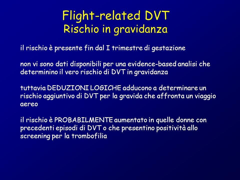 il rischio è presente fin dal I trimestre di gestazione non vi sono dati disponibili per una evidence-based analisi che determinino il vero rischio di DVT in gravidanza tuttavia DEDUZIONI LOGICHE adducono a determinare un rischio aggiuntivo di DVT per la gravida che affronta un viaggio aereo il rischio è PROBABILMENTE aumentato in quelle donne con precedenti episodi di DVT o che presentino positività allo screening per la trombofilia Flight-related DVT Rischio in gravidanza