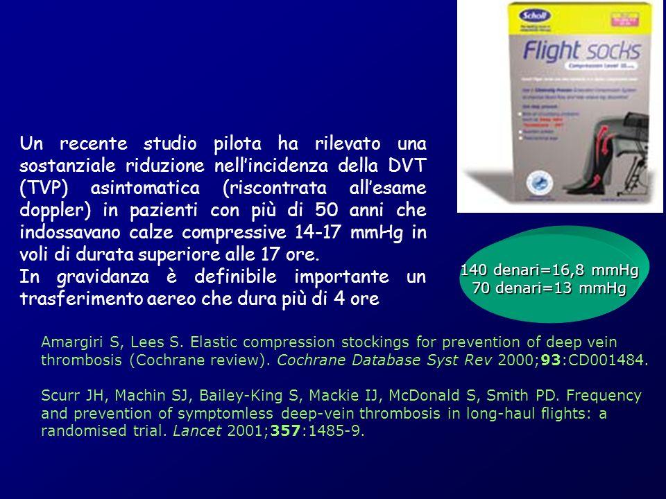 Un recente studio pilota ha rilevato una sostanziale riduzione nellincidenza della DVT (TVP) asintomatica (riscontrata allesame doppler) in pazienti c