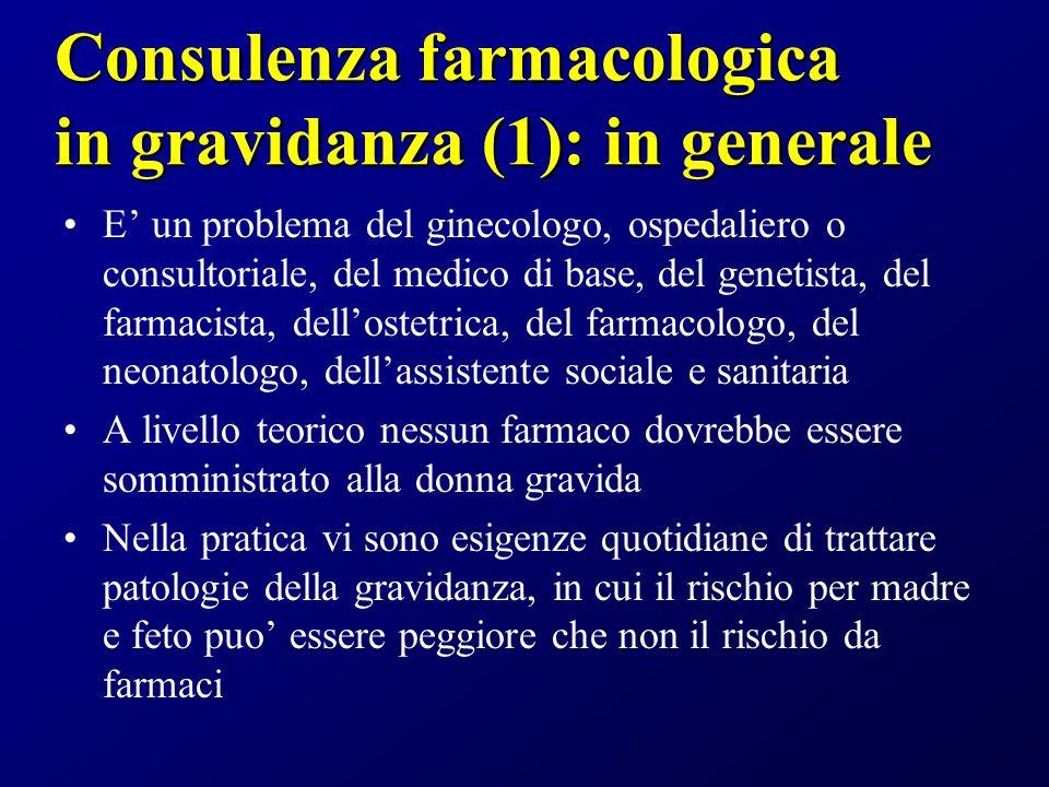Consulenza farmacologica in gravidanza (1): in generale E un problema del ginecologo, ospedaliero o consultoriale, del medico di base, del genetista,