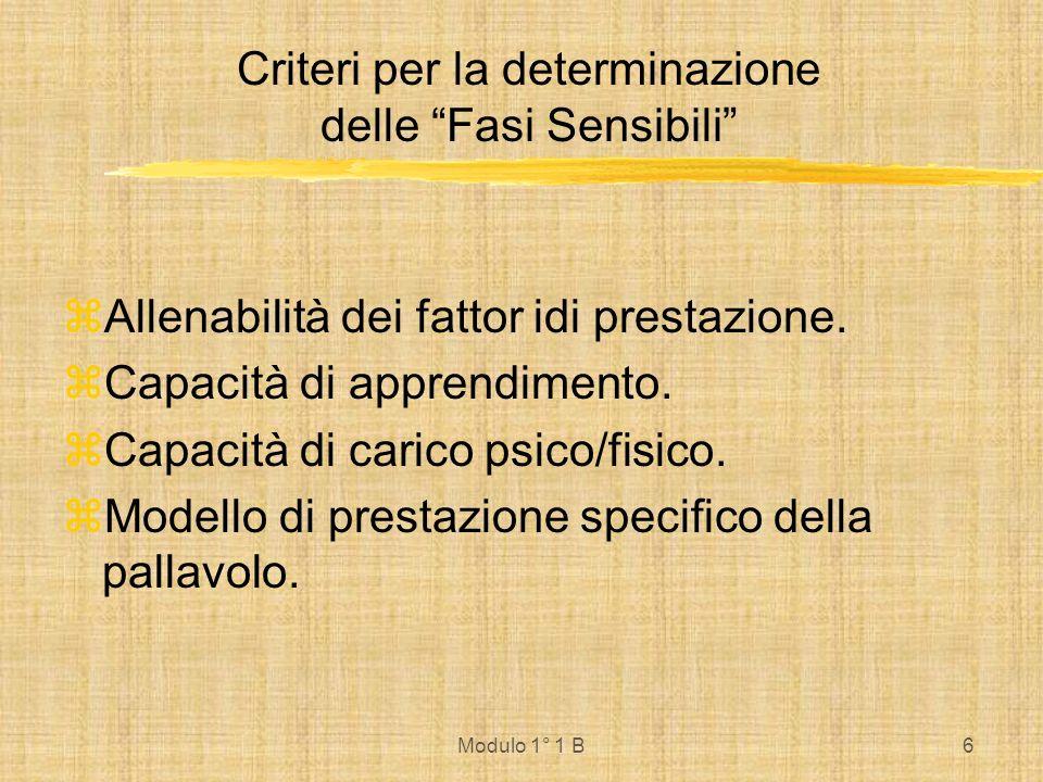 Modulo 1° 1 B6 Criteri per la determinazione delle Fasi Sensibili Allenabilità dei fattor idi prestazione. Capacità di apprendimento. Capacità di cari