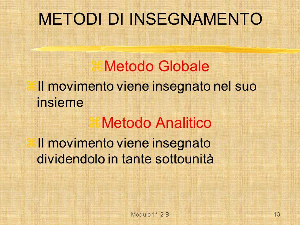Modulo 1° 2 B13 METODI DI INSEGNAMENTO Metodo Globale Il movimento viene insegnato nel suo insieme Metodo Analitico Il movimento viene insegnato divid