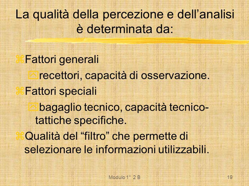 Modulo 1° 2 B19 La qualità della percezione e dellanalisi è determinata da: Fattori generali recettori, capacità di osservazione. Fattori speciali bag