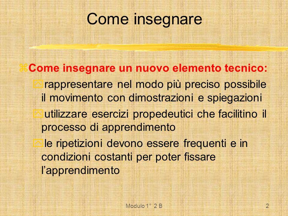 Modulo 1° 2 B2 Come insegnare Come insegnare un nuovo elemento tecnico: rappresentare nel modo più preciso possibile il movimento con dimostrazioni e