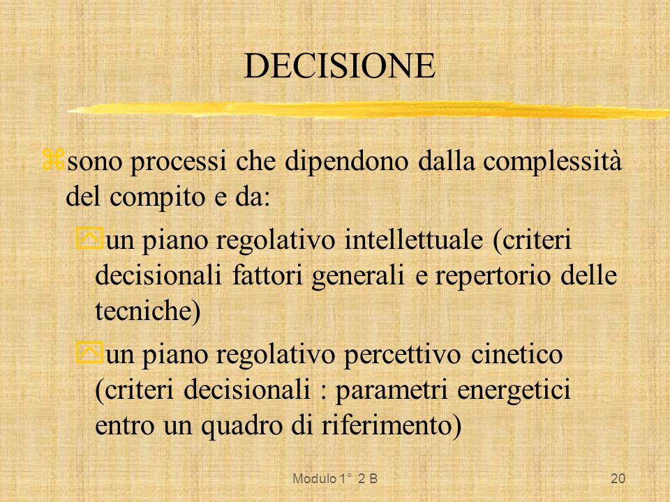 Modulo 1° 2 B20 DECISIONE zsono processi che dipendono dalla complessità del compito e da: yun piano regolativo intellettuale (criteri decisionali fat