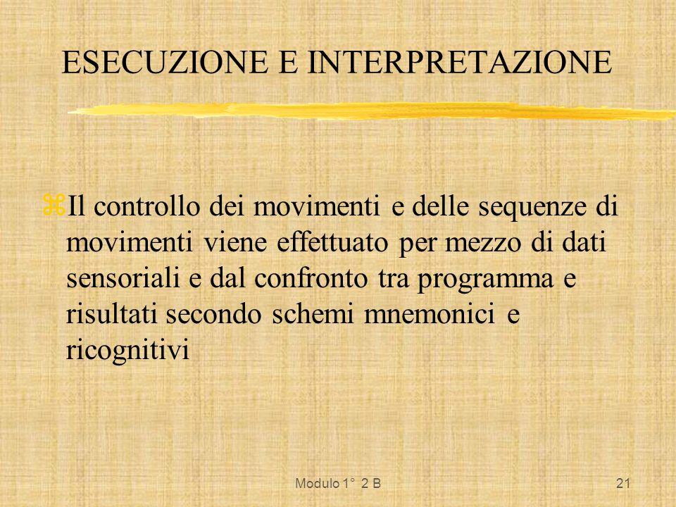 Modulo 1° 2 B21 ESECUZIONE E INTERPRETAZIONE zIl controllo dei movimenti e delle sequenze di movimenti viene effettuato per mezzo di dati sensoriali e