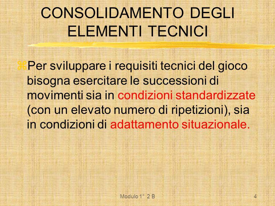 Modulo 1° 2 B4 Per sviluppare i requisiti tecnici del gioco bisogna esercitare le successioni di movimenti sia in condizioni standardizzate (con un el