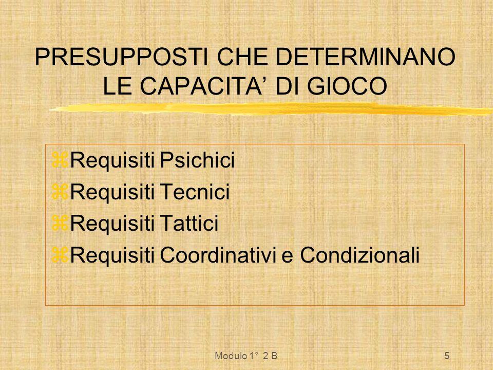 Modulo 1° 2 B5 PRESUPPOSTI CHE DETERMINANO LE CAPACITA DI GIOCO Requisiti Psichici Requisiti Tecnici Requisiti Tattici Requisiti Coordinativi e Condiz