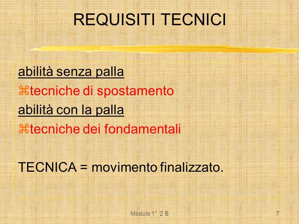 Modulo 1° 2 B7 REQUISITI TECNICI abilità senza palla tecniche di spostamento abilità con la palla tecniche dei fondamentali TECNICA = movimento finali