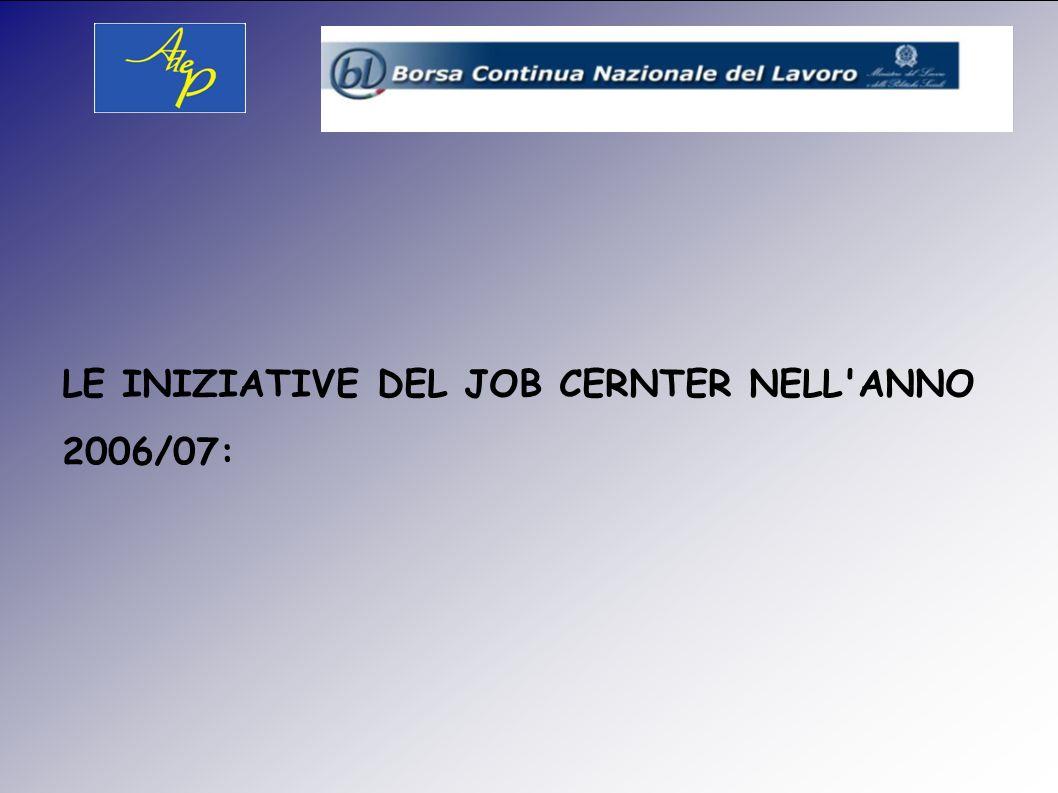LE INIZIATIVE DEL JOB CERNTER NELL ANNO 2006/07: