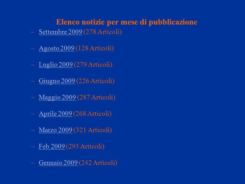 Elenco notizie per mese di pubblicazione –Settembre 2009 (278 Articoli)Settembre 2009 –Agosto 2009 (128 Articoli)Agosto 2009 –Luglio 2009 (279 Articol