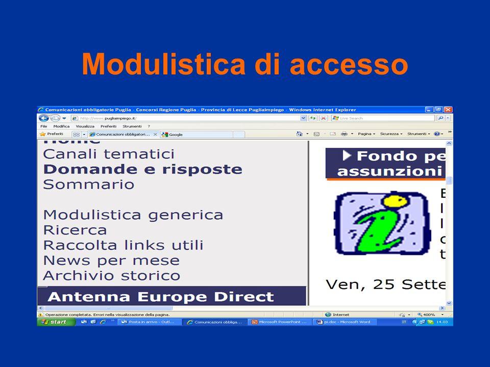 Modulistica di accesso