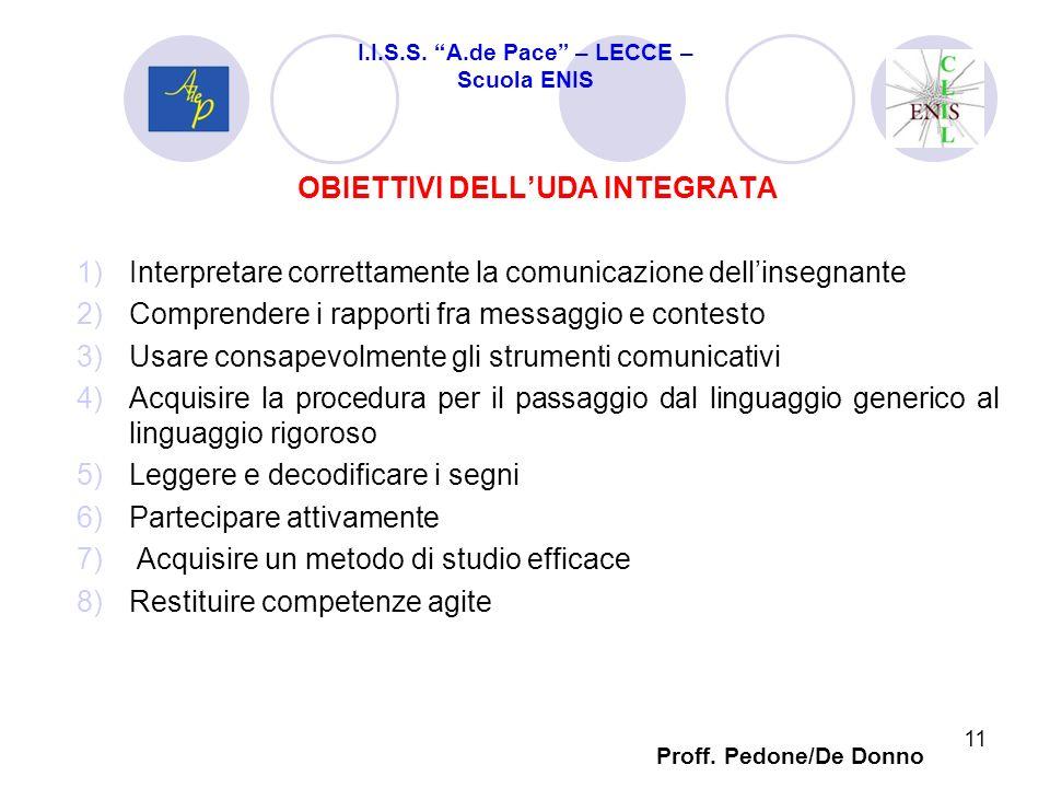 OBIETTIVI DELLUDA INTEGRATA 1)Interpretare correttamente la comunicazione dellinsegnante 2)Comprendere i rapporti fra messaggio e contesto 3)Usare con