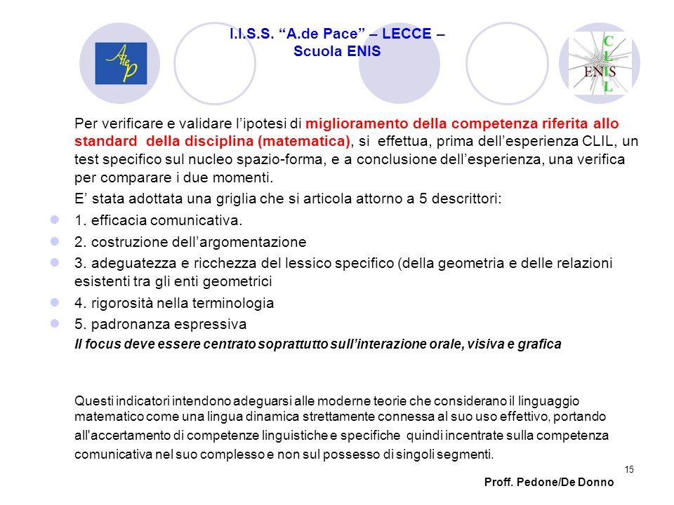 Per verificare e validare lipotesi di miglioramento della competenza riferita allo standard della disciplina (matematica), si effettua, prima dellespe