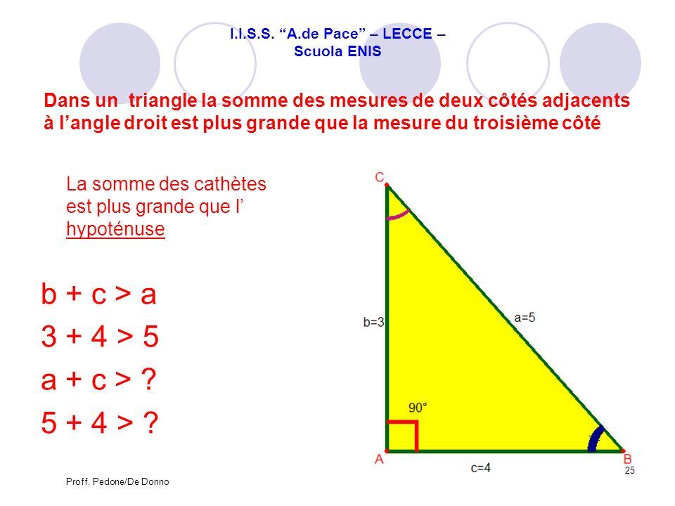 Dans un triangle la somme des mesures de deux côtés adjacents à langle droit est plus grande que la mesure du troisième côté La somme des cathètes est