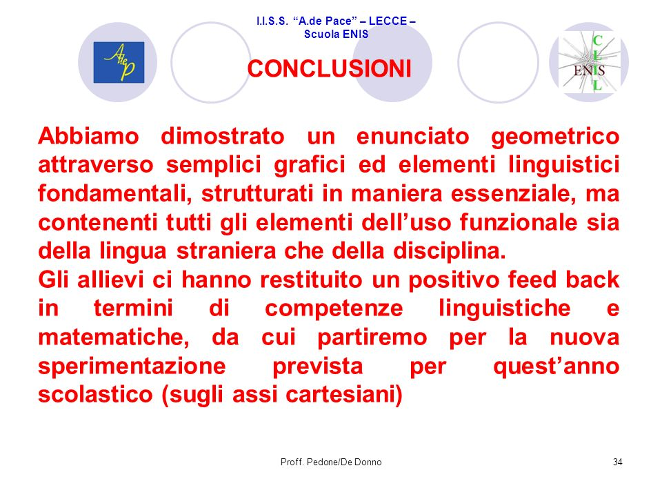 CONCLUSIONI 34Proff. Pedone/De Donno Abbiamo dimostrato un enunciato geometrico attraverso semplici grafici ed elementi linguistici fondamentali, stru