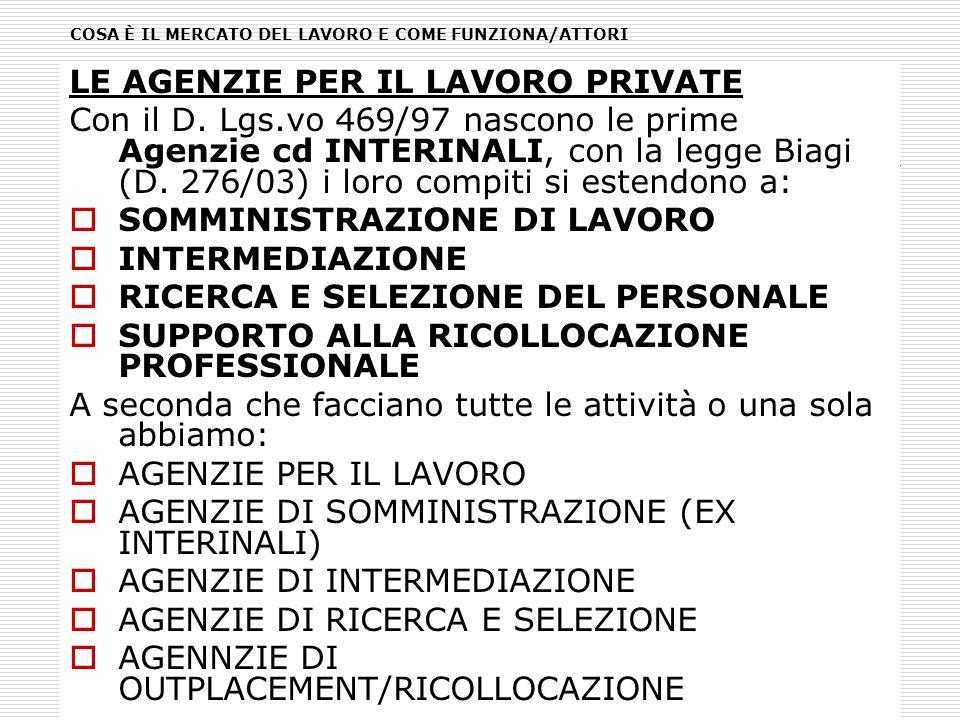 LE AGENZIE PER IL LAVORO PRIVATE Con il D. Lgs.vo 469/97 nascono le prime Agenzie cd INTERINALI, con la legge Biagi (D. 276/03) i loro compiti si este