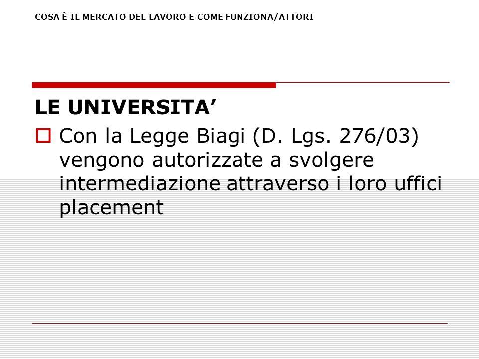 LE UNIVERSITA Con la Legge Biagi (D. Lgs. 276/03) vengono autorizzate a svolgere intermediazione attraverso i loro uffici placement