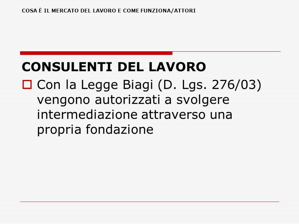 COSA È IL MERCATO DEL LAVORO E COME FUNZIONA/ATTORI CONSULENTI DEL LAVORO Con la Legge Biagi (D. Lgs. 276/03) vengono autorizzati a svolgere intermedi