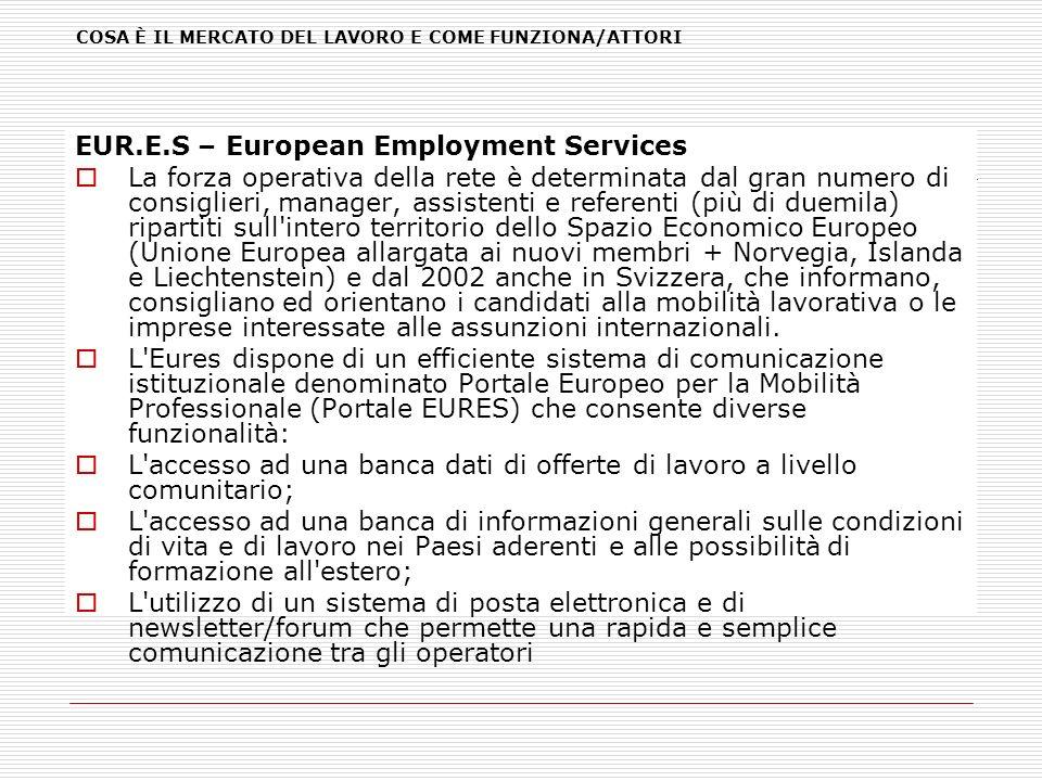 COSA È IL MERCATO DEL LAVORO E COME FUNZIONA/ATTORI EUR.E.S – European Employment Services La forza operativa della rete è determinata dal gran numero