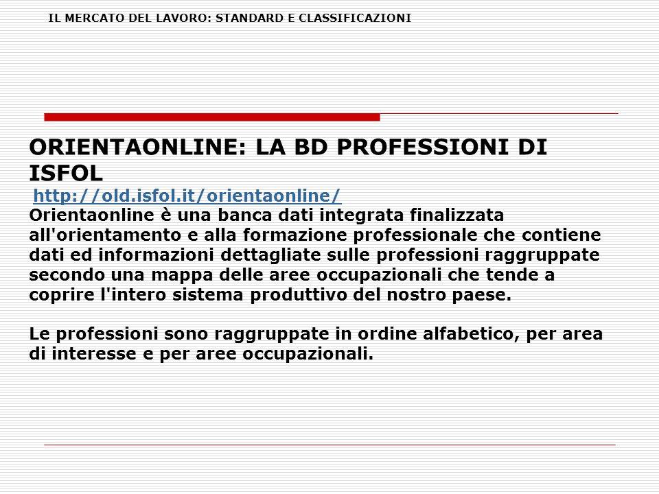 IL MERCATO DEL LAVORO: STANDARD E CLASSIFICAZIONI ORIENTAONLINE: LA BD PROFESSIONI DI ISFOL http://old.isfol.it/orientaonline/ Orientaonline è una ban