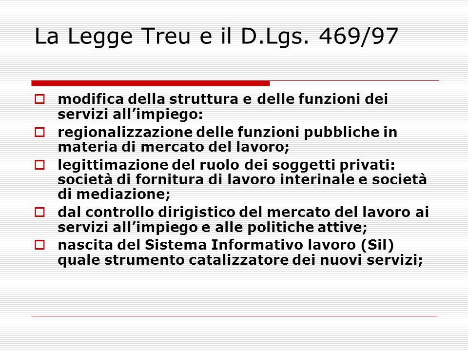 La Legge Treu e il D.Lgs. 469/97 modifica della struttura e delle funzioni dei servizi allimpiego: regionalizzazione delle funzioni pubbliche in mater