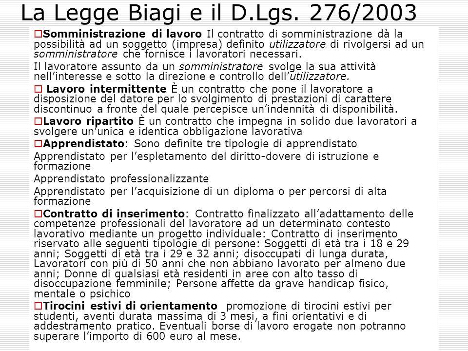 La Legge Biagi e il D.Lgs. 276/2003 Somministrazione di lavoro Il contratto di somministrazione dà la possibilità ad un soggetto (impresa) definito ut