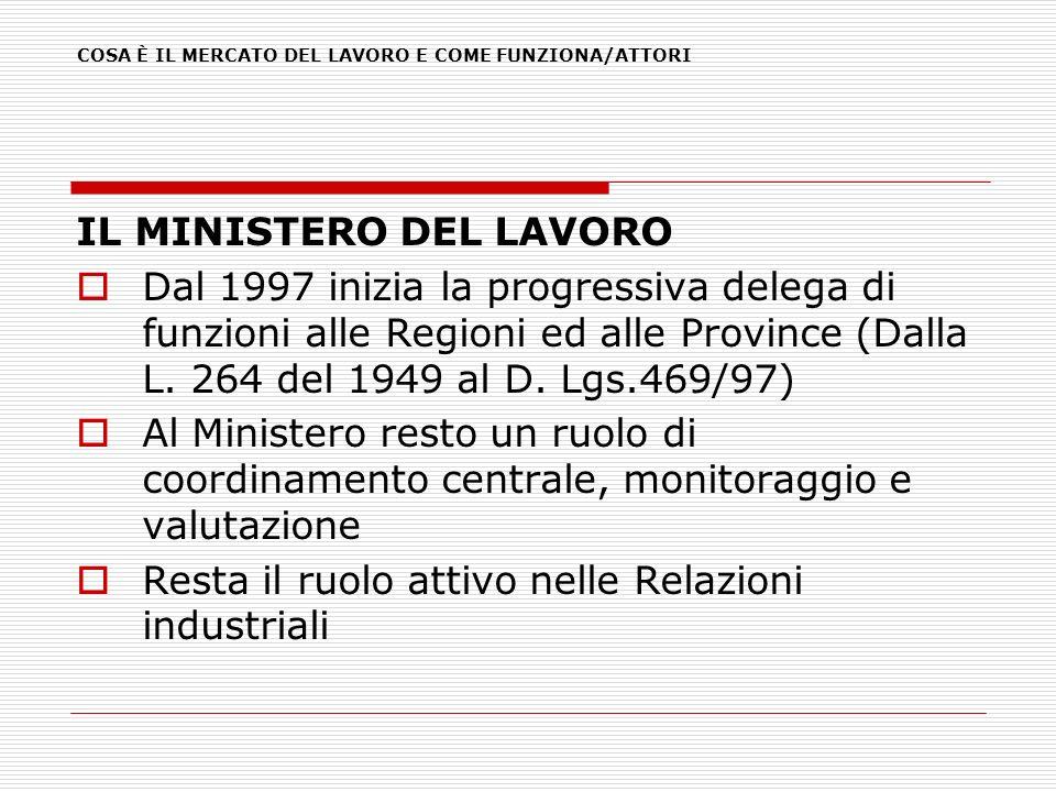 IL MINISTERO DEL LAVORO Dal 1997 inizia la progressiva delega di funzioni alle Regioni ed alle Province (Dalla L. 264 del 1949 al D. Lgs.469/97) Al Mi