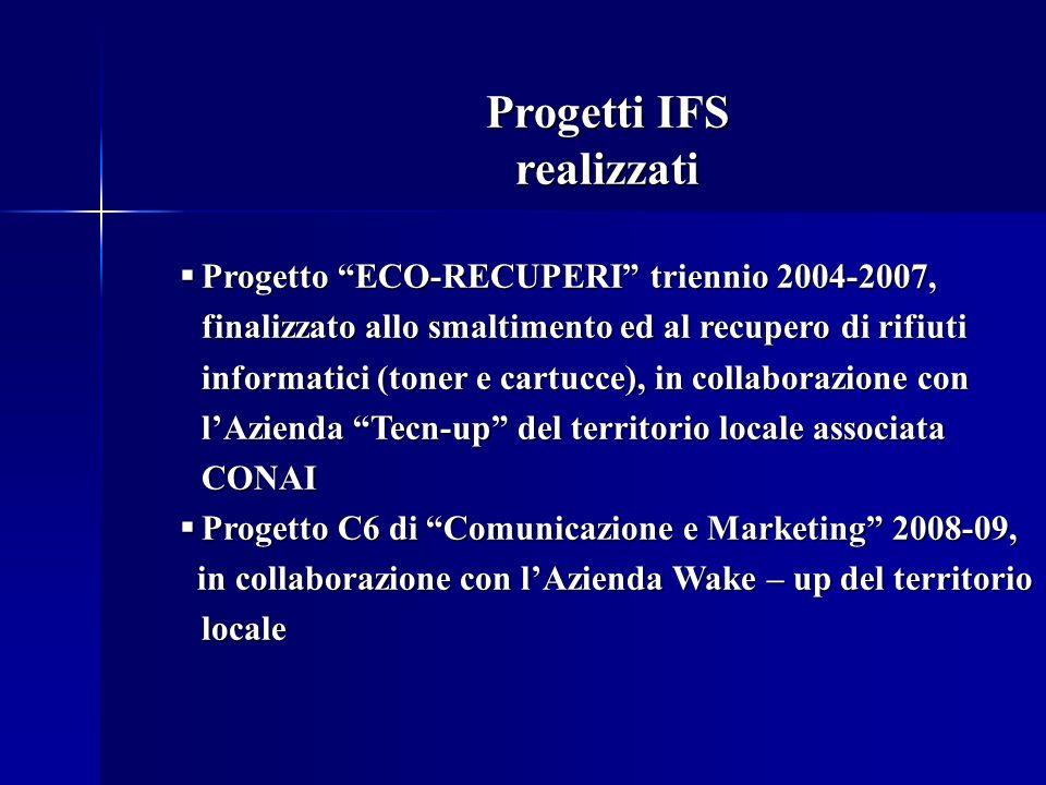Progetti IFS realizzati Progetto ECO-RECUPERI triennio 2004-2007, finalizzato allo smaltimento ed al recupero di rifiuti informatici (toner e cartucce), in collaborazione con lAzienda Tecn-up del territorio locale associata CONAI Progetto ECO-RECUPERI triennio 2004-2007, finalizzato allo smaltimento ed al recupero di rifiuti informatici (toner e cartucce), in collaborazione con lAzienda Tecn-up del territorio locale associata CONAI Progetto C6 di Comunicazione e Marketing 2008-09, Progetto C6 di Comunicazione e Marketing 2008-09, in collaborazione con lAzienda Wake – up del territorio locale in collaborazione con lAzienda Wake – up del territorio locale