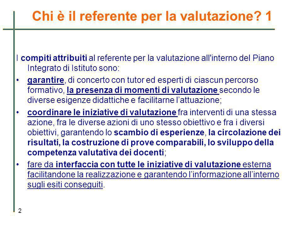 Chi è il referente per la valutazione? 1 2 I compiti attribuiti al referente per la valutazione all'interno del Piano Integrato di Istituto sono: gara