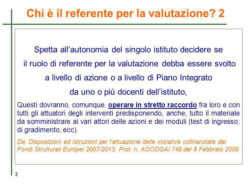 Chi è il referente per la valutazione? 2 3 Spetta allautonomia del singolo istituto decidere se il ruolo di referente per la valutazione debba essere